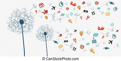 Shipping logistics icons abstract dandelion illustration.
