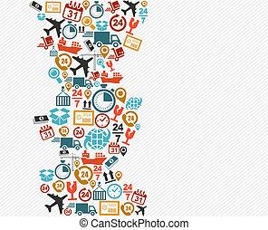 Shipping logistics isolated icon splash illustration.