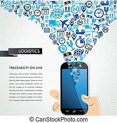 Shipping logistics mobile human hand icons splash. -...