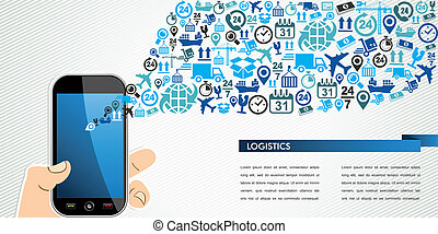 Shipping logistics mobile human hand icons splash. -...