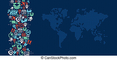 Shipping logistics world map icons splash illustration.