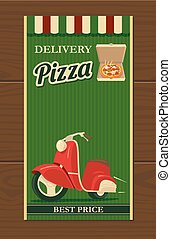Shipping moped pizza. Isolated vector retro vintage illustration for poster, menus, logotype, brochure, presentation