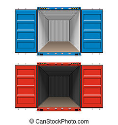 Shipping, open cargo containers - Freight shipping, open...
