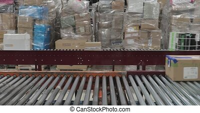 Shipping Boxes at Fast Conveyer in Sorting Distribution Warehouse