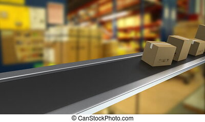 Shipping packages moving on a conveyor belt