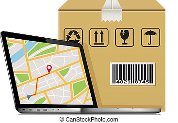Shipping parcel GPS tracking order design. Laptop with GPS map on screen and shipping cardboard box.