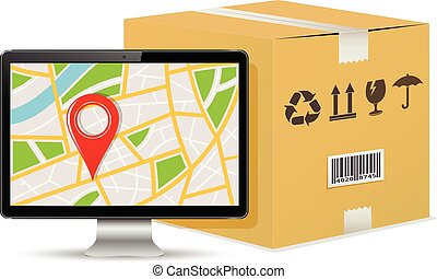 Shipping parcel tracking order design. Computer display with...