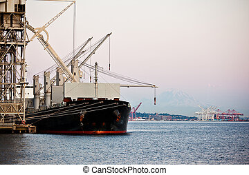 Shipping port - A shot of a shipping port with a ship...