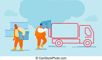 Shipping Port Men Loading Containers to Freight Truck. Seaport Workers Carry Box to Lorry in Docks. Global Maritime Logistic Worldwide Industry Cargo Shipping Business Cartoon Flat Vector Illustration