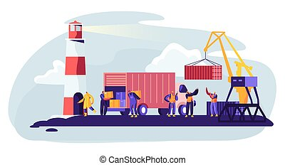 Shipping Port with Harbor Crane Loading Containers to Marine Freight Boat. Seaport Workers Carry Boxes from Truck in Docks near Lighthouse. Global Maritime Logistic. Cartoon Flat Vector Illustration