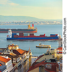 shipping., portugal, lisboa