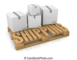 shipping services - pallet made with the word: shipping (3d...