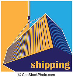 shipping - stylized illustration on logistics and freight ...