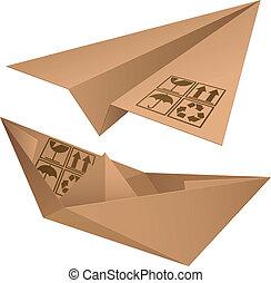 Shipping symbols. - Cardboard plane and ship.