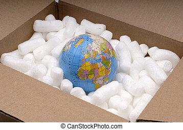 Shipping The World - The World Globe In A Shipping Carton...