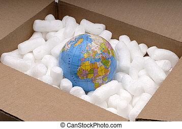 Shipping The World - The World Globe In A Shipping Carton ...