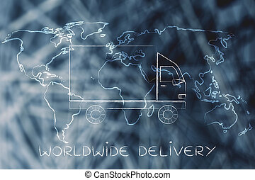 shipping truck with world map background, worldwide delivery