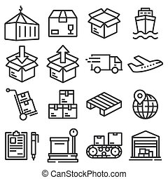 Shipping vector icons for logistic company.
