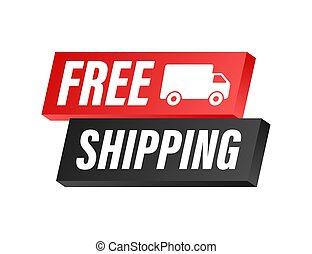 shipping., vector, insignia, illustrtaion., libre, acción, truck.