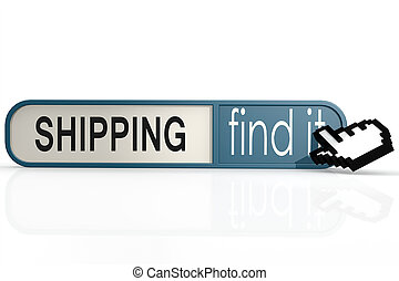 Shipping word on the blue find it banner