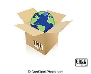 Shipping world box - A International free shipping icon. The...