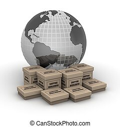 Shipping worldwide concept - Globe with printed shipping...