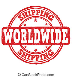 Shipping worldwide grunge rubber stamp on white, vector illustration