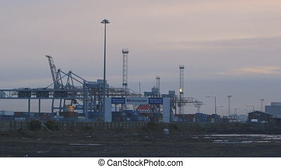 Shipping Yard and Containers - Steady, wide shot of a...