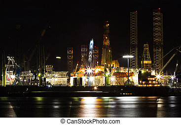 Shiprepair and dock at night