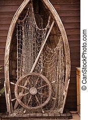 ship's, ボート, 木製である, helm., 釣り, 芸術, desing., andvitage, 車輪, 壁...