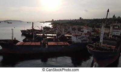Ships Anchored at Harbor