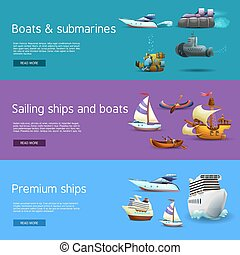 Ships And Boats Banners Set