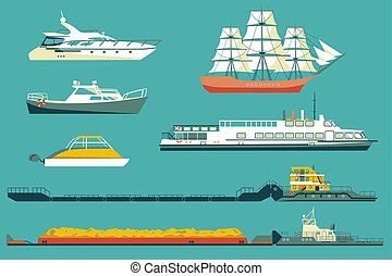 Ships and boats in vector
