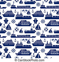 Ships and boats marine seamless background pattern with...