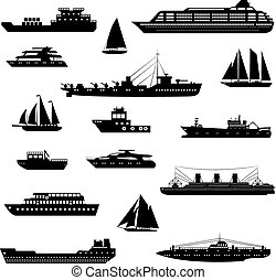 Ships and boats set black and white - Ships and boats...