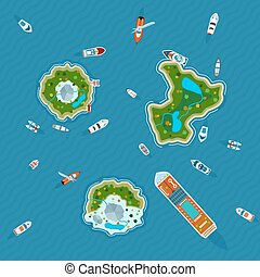 Ships around islands top view - Various ships and motorboats...