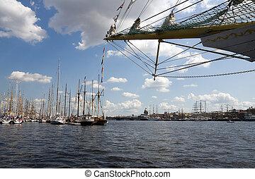 Neva river, St.Petersburg, Russia - Ships at Neva river, St....