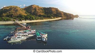 Ships at pier aerial. Island at sun ocean coast. Cruise liner docked at sea bay. Sand beach at mountain. Nature landscape. Passengers motor boats at sandy shore. Vacation at Rinca, Komodo, Indonesia