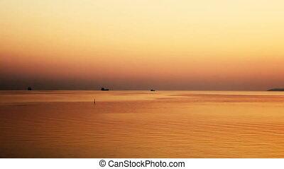 Ships at sea in the raid at dawn