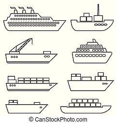 Ships, boats, cargo, logistics, transportation and shipping line icons