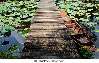 Ships bound to bridge across the lotus pond. - Ships bound...