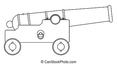 A depiction of an old ship of the lines cannon gun