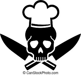 Ship's cook skull with chefs hat and crosse knives