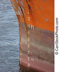 Ship\'s draught marks - The draught marks on the bow of a...