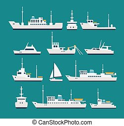 Ships flat set. Silhouettes of various boats and yachts