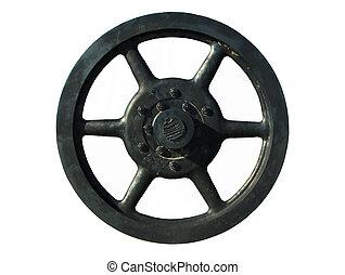 Ships Flywheel - Five foot diameter cast steel flywheel from...