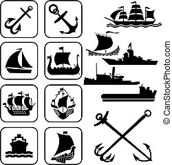 ships icons - set of vector icons. One ships
