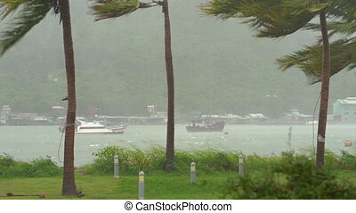 Ships in a harbor under a heavy rain and storm wind. Tropical storm concept. Contains natural sound.