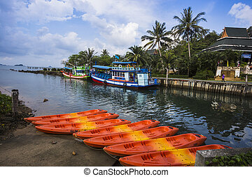 Ships in Thailand on the island of Koh Chang