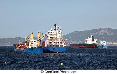 Ships in the port of Gibraltar